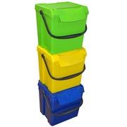 Pack Contenedor 3 Residuos Clasificacion Apilable 40 Litros