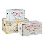 Set de 3 Baules Sunglasses en DM y Lona 38 x 65 x 35 cm