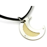 Colgante en Acero + Oro Forma Luna