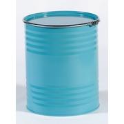 Bidón metálico con ballesta azul