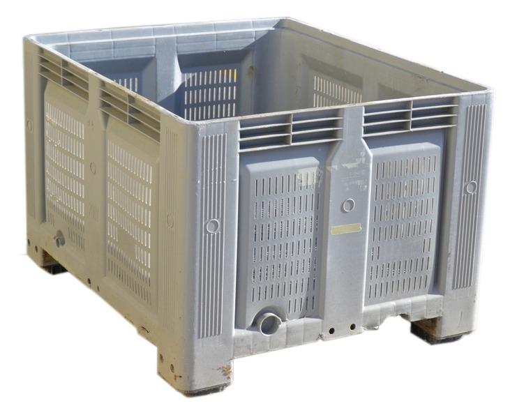 Contenedor plastico usado us1732400r for Cajas plasticas con ruedas