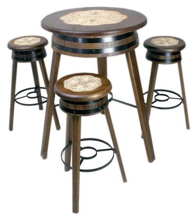 Mesa con 4 Taburetes Artesanal - Perfecta para catas de vinos