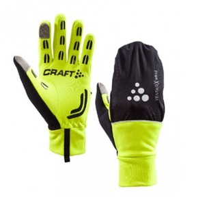 GUANTES CICLISMO CRAFT HYBRID WEATHER FLUOR/NEGRO