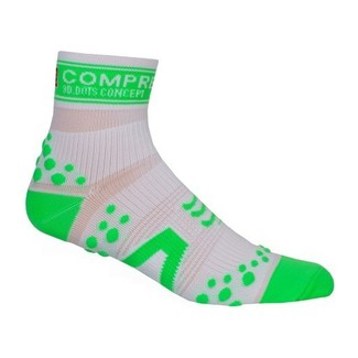 CALCETINES RUNNING COMPRESSPORT RUN HIGH BLANCO/VERDE
