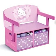 Mueble 3 en 1 Banco Escritorio Contenedor Hello Kitty