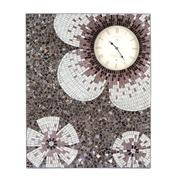 Cuadro Mosaico Cristal Flores C/Reloj 62x76cm