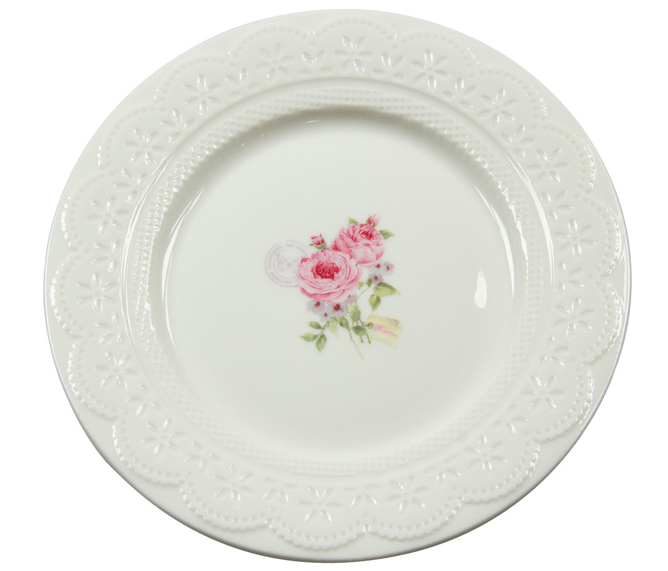Set 4 platos porcelana blanca rosas 19x19cm for Platos porcelana blanca