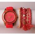 Conjunto reloj y pulsera coral