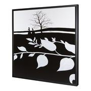 Cuadro Hojas Blancas Oleo 85 x 85 centímetros