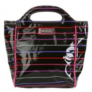 Bolso de Mano C/Asas Pencil Stripes Berry Negro Ref.HDK817
