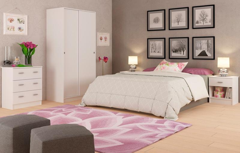 Ambiente Dormitorio Matrimonio Blanco Liso