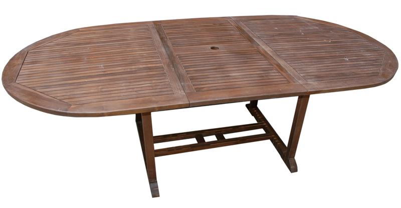 Mesa redonda exterior extensible madera teka 180x120x75cm - Mesa redonda exterior ...