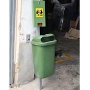 Papelera Verde C/Dispensador para Perros 43x43x169cm