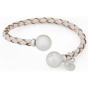 Pulsera de Cuero Trenzado Blanco con Perlas Ref.PLR 490
