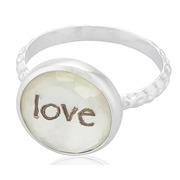 Anillo de Plata Cristal Blanco Estampado Love Ref.ANL 175