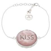 Pulsera de Plata Cristal Blanco Estampado Kiss Ref.PLR 796