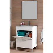 Mueble Lavabo con Luna Espejo Blanco Brillo