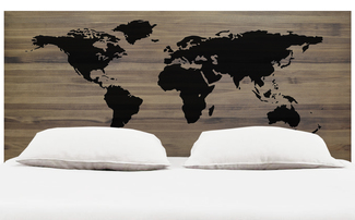 Cabecero para Cama World Map en Madera de Pino