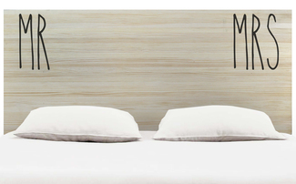 Cabecero Cama Doble Mr & Mrs  Madera