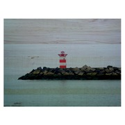 Cuadro Horizontal de Madera Playa Faro Rojo 60x45cm
