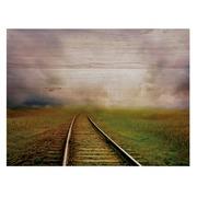 Cuadro Horizontal de Madera Vias de Tren 60x45cm