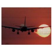 Cuadro Horizontal de Madera Avion Sunset 60x45cm