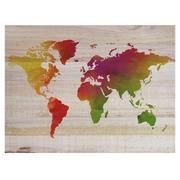 Cuadro de Madera Mapamundi de Colores 60x45cm