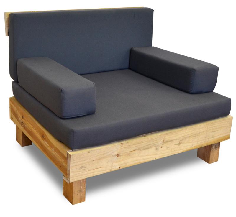 Palet sof de madera reciclada 80 x 100 x 38 cm for Sofa exterior madera