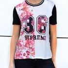 Camiseta flores rosas estampado y numero 36