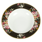 Plato Hondo en Porcelana Bloom Black 23 x 23 cm