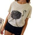Camiseta estampada Beige Pajaro