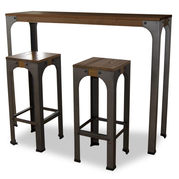 Mesa bristol alta estilo industrial vintage for Mesas de madera bar