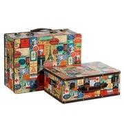 Set de 2 Maletas París en DM y Lona Multicolor 32 x 42 x 18 cm