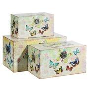 Set de 3 Baúles Mariposas en Dm y Lona 38 x 65 x 35 cm