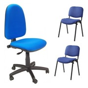 Pack Oficina PRE-AZ Silla Operativa y 2 Sillas Fijas Azules