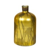 Jarrón Botella de Vidrio Dorado 18 x 18 x 32 cm