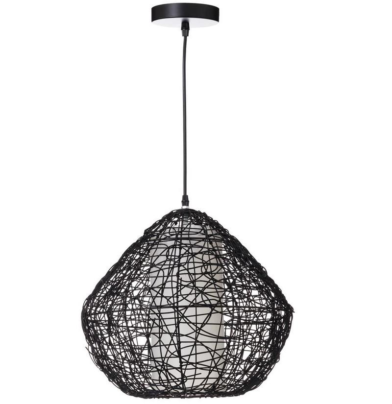 Lámpara de Techo en Ratán Negro 44 x 44 x 42 cm