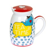 Taza con Tapa Tea Time Puntos en Porcelana 100 mililitros
