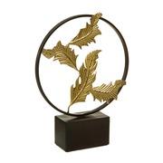 Figura Hojas Doradas en Metal 8 x 31 x 41 cm