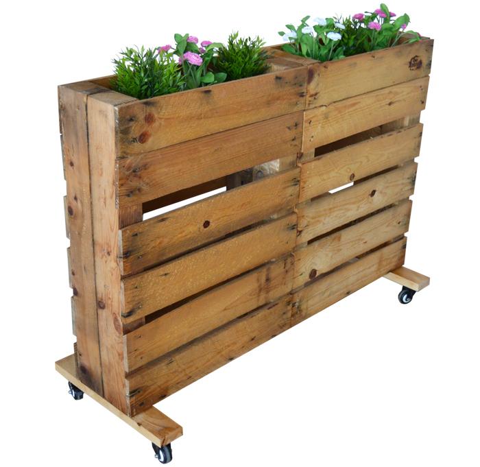 Jardinera de palets con ruedas nature - Jardineras con palets de madera ...