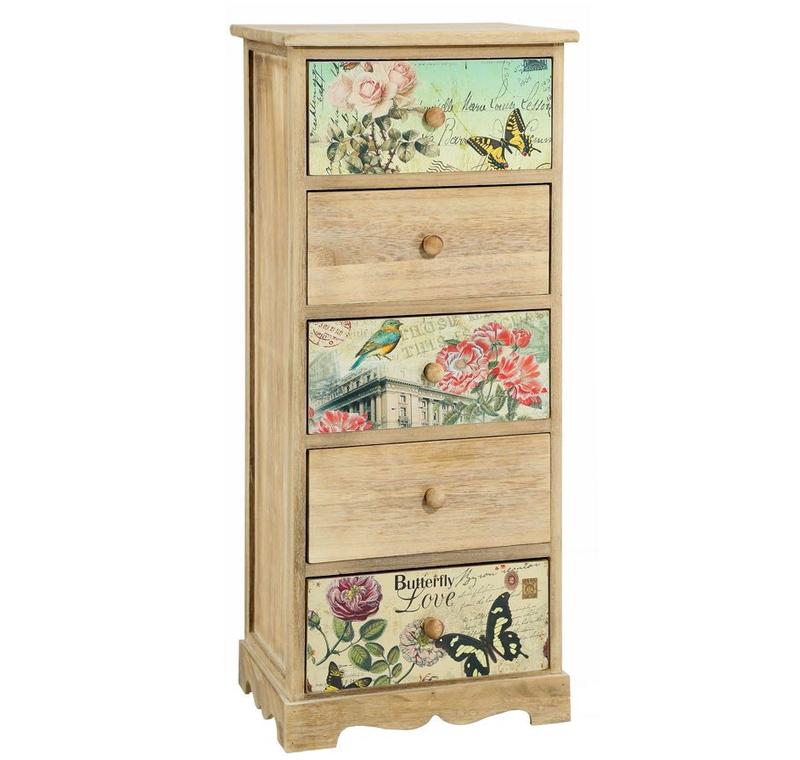 Mueble auxiliar en madera natural 5 cajones 29 x 40 x 90 cm - Muebles en madera natural ...