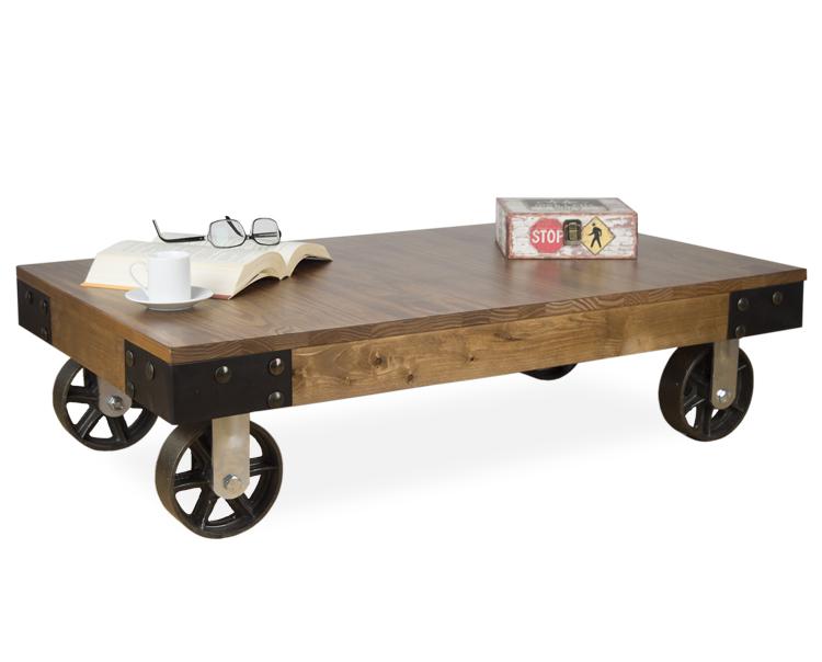 Mesa de centro bristol con ruedas en hierro de fundici n for Mesas de tv con ruedas