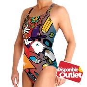 Bañador Mujer BBOSI Waterpolo Crazy World Woman Outlet XXL