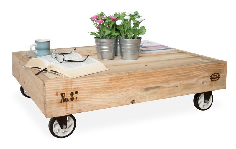 imagen de mesa palet de centro con ruedas nature madera de pino