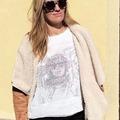 Blusa para Mujer Gasa Plumetti Blanca con estampado interior