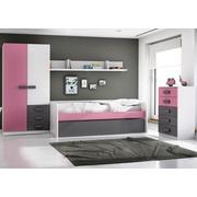Ambiente Dormitorio Juvenil Color Rosa Tirador Grafito