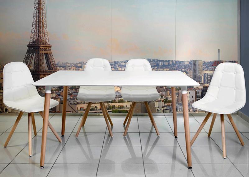 conjunto nrdico moon blanco mesa saln y 4 sillas en poliuretano - Sillas Y Mesas De Salon