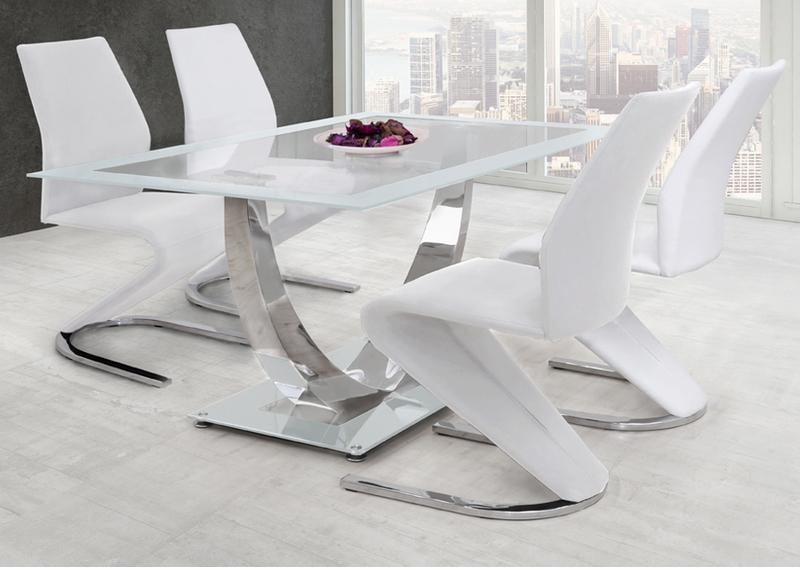 Conjunto Comedor Unique Blanco Mesa y 4 Sillas Pata Forma U