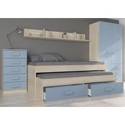 Ambiente Dormitorio Juvenil Armario 3 Cajones Acacia Azul Frozen