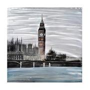Cuadro Londres al Oleo Lienzo y Aluminio 100 x 100 cm